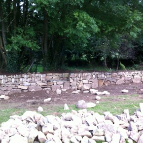 All the granite used in this hedge came out from a barn conversion on site . From a cattle shed to a luxury holiday let.