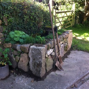 Concrete cattle trough faced in granite to form a pond with a bedded planter.