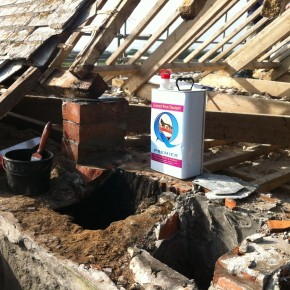 Here you can see the removal of the chimney and a supporting pillar for the purlin.