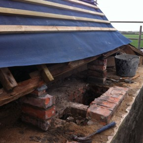 We removed 4 chimenys in total. And brick pillers were instaled to support the new purlins required. All timbers were treated with a comprehensive wood treatment.