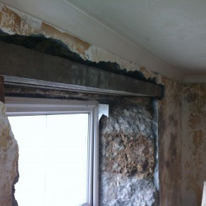 Many of the internal wooden window lintels had rotted out. We replaced them with reinforced concrete lintels.