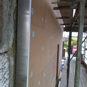 Here you can see the boards fixed to the lime rendered wall.