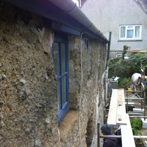 Here you can see the sills removed ready for the new slate.