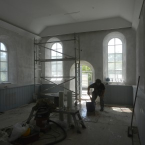 Lime plastering Cornish church