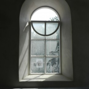 lime plastering church style window