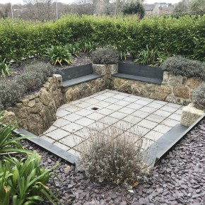 Front garden revamp with a Granite wall and a sunken garden