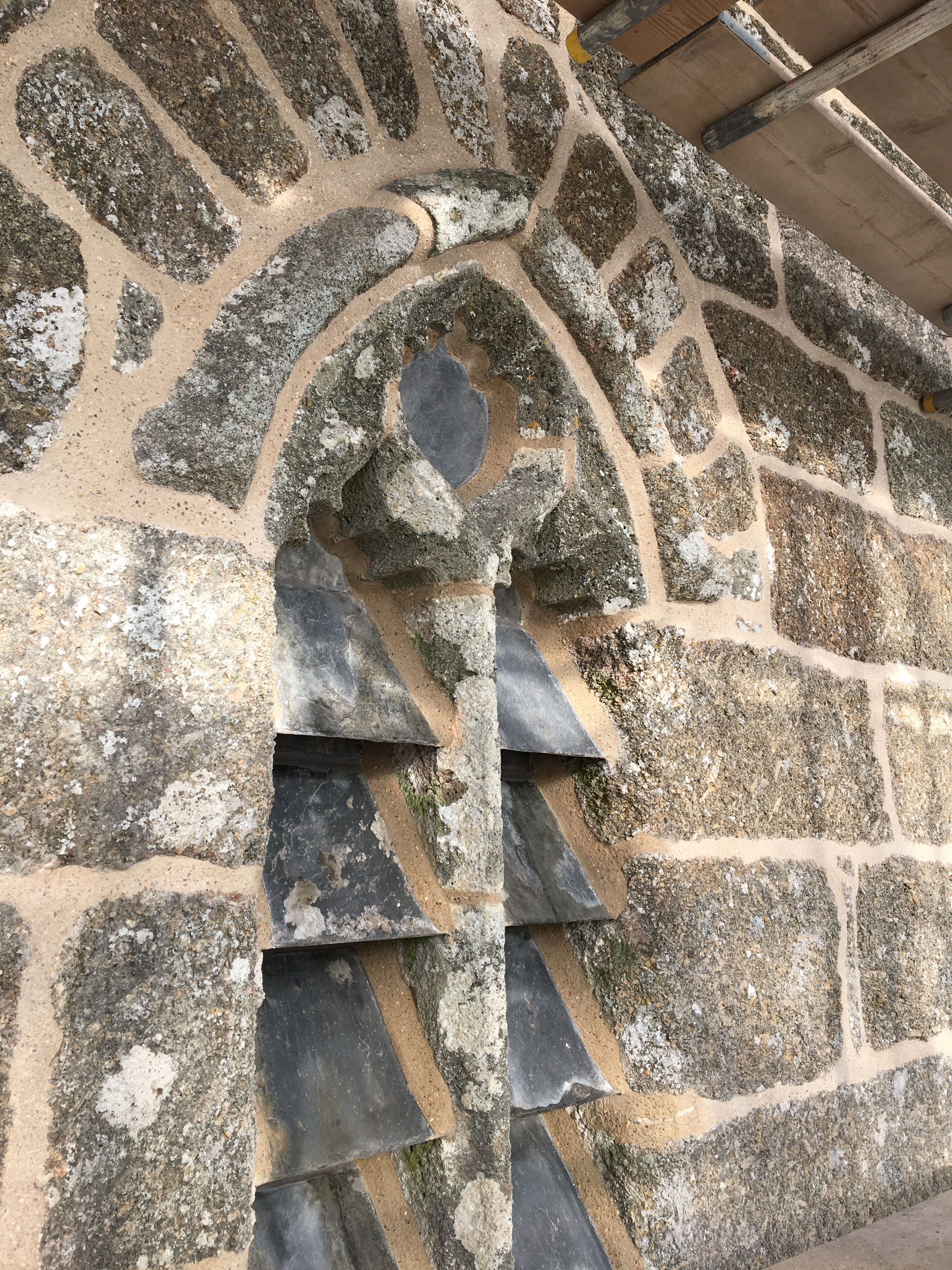 Bell tower repointed by Cornish lime builders.